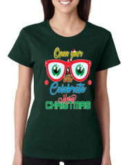 Women's T Shirt Open Your Eyes Lets Celebrate Christmas Cute Tee