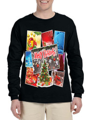 Men's Long Sleeve Merry Christmas Postcards Holiday Graphic Tee