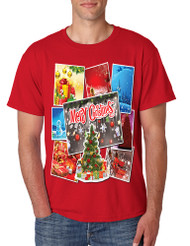 Men's T Shirt Merry Christmas Postcards Holiday Graphic Tshirt