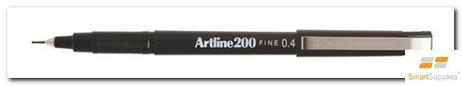 Artline 200 Fineliner Black Pen 0.4