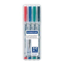 Staedtler Lumocolor Non Permanent Superfine - Box of 4 Colours (0.4mm)