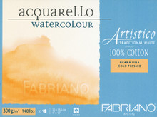 FABRIANO ARTISTICO TRADITIONAL WHITE 4 SIDES GLUED PAD COLD PRESSED 25 SHEETS 300GSM 12.5X18CM