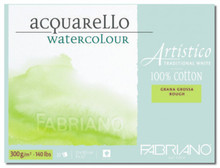 FABRIANO ARTISTICO TRADITIONAL WHITE 4 SIDES GLUED PAD ROUGH 15 SHEETS 300GSM 35.5X51CM