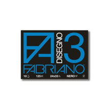 Fabriano Disegno 3 Nero 125GSM Staple Bound Pad - 24cm x 33cm - 10 Black Sheets