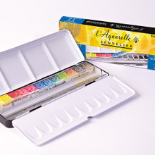Sennelier Watercolour Metal Box - 12 Half Pans + 12 Empty Slots