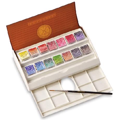 Sennelier Watercolour Travel Box - 14 Half Pans + 1 Brush