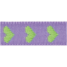Rico Design Fabric Ribbon - Hearts, Violet/Green