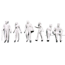 Preiser Unpainted Detailed Various Figures (Standing, Walking, Sitting) - 1:100