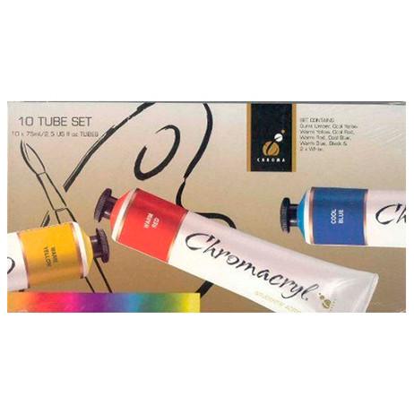 Chromacryl Student Acrylics - 10 x 75ml Tube Set