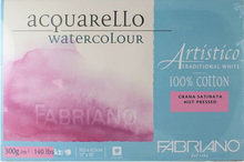 FABRIANO ARTISTICO TRADITIONAL WHITE 4 SIDES GLUED PAD HOT PRESSED 15 SHEETS 300GSM 35.5X51CM