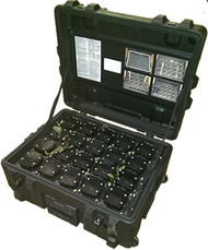 The lights, transmitters and accessories store in a multi tray systemic case for easy access and policing up of the area afterwards.