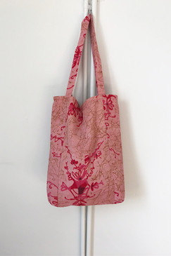Milly S. Tote (Japanese vintage textiles - pink scribble)