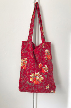 Milly S. Tote (Japanese vintage textiles - crimson and crayon)