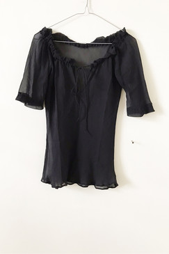 Silk Georgette Frill Tee (S)