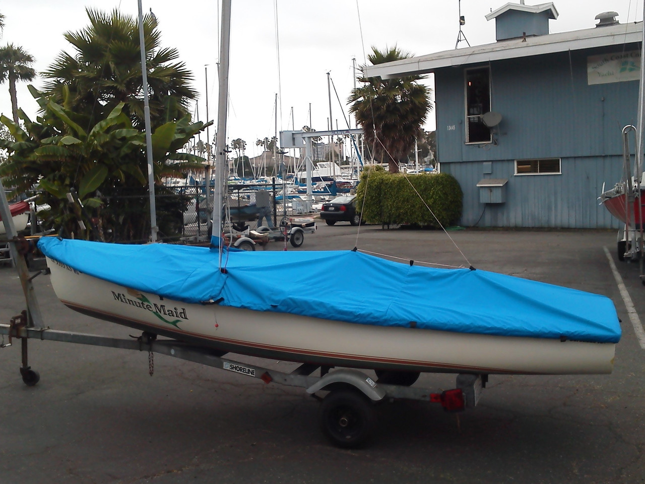 Coronado 15 Mast Up Flat Cover by SLO Sail and Canvas