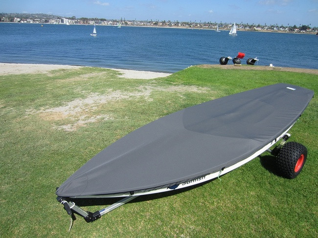 Sunfish Deck Cover by SLO Sail and Canvas. Shown in Top Gun Sea Gull Gray. Available in 3 fabrics and many color choices.