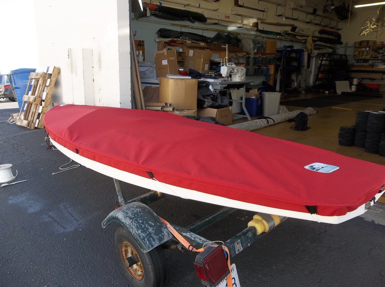 Sunfish Top Cover by SLO Sail and Canvas shown in Sunbrella Jockey Red. Available in 3 fabrics and many color choices.