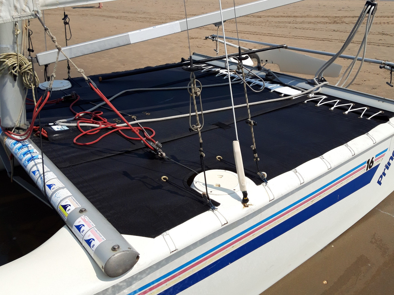 Trampoline to fit a Prindle 16 catamaran made in America by skilled artisans at SLO Sail and Canvas.
