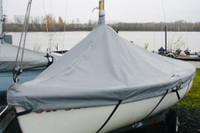 Lido 14 Sailboat Mast Up Peaked Cover made in America by SLO Sail and Canvas. Shown In Top Gun Sea Gull Gray with optional upgrade: STRAPS.