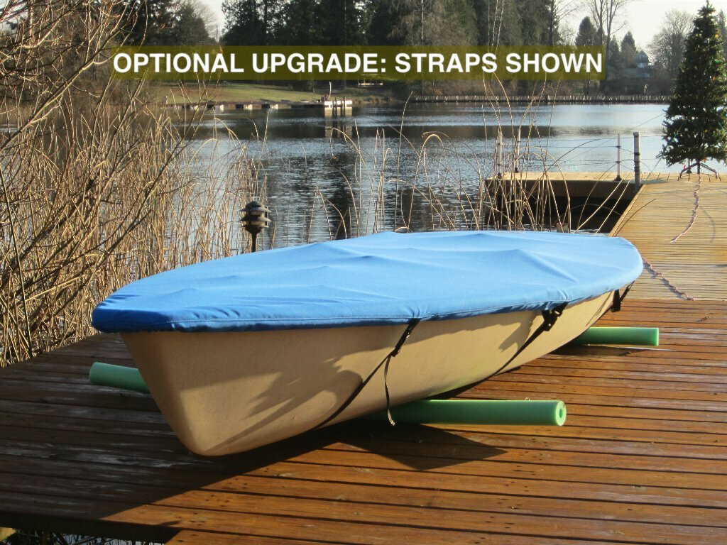 Laser Top Deck Sailboat Cover by SLO Sail and Canvas. Optional Straps with plastic Fastex® Buckles upgrade shown in pic. Shown in Polyester Royal Blue.