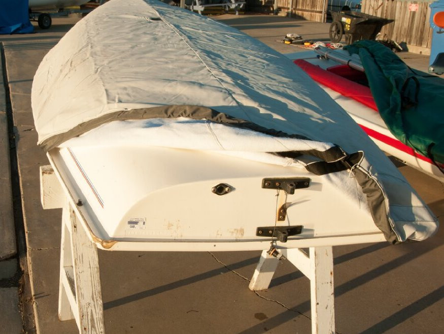 Laser Hull Cover by SLO Sail and Canvas. SoftTouch fabric (shown) has felt like inner material to protect your hull from abrasion.