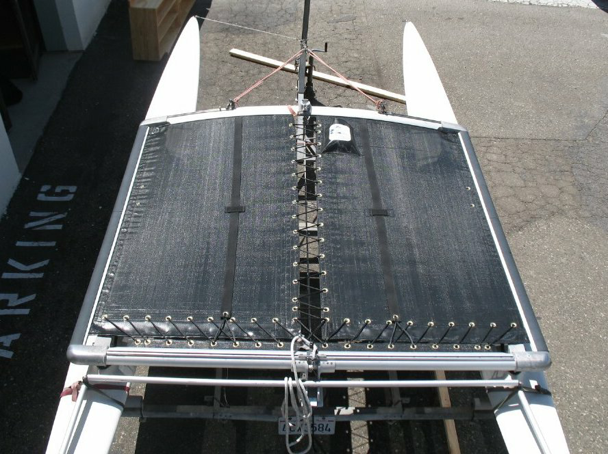 3pc Trampoline to fit a Hobie® 16 catamaran made in America by skilled artisans at SLO Sail and Canvas. Shown in 8oz basket weave black Polypropylene mesh.