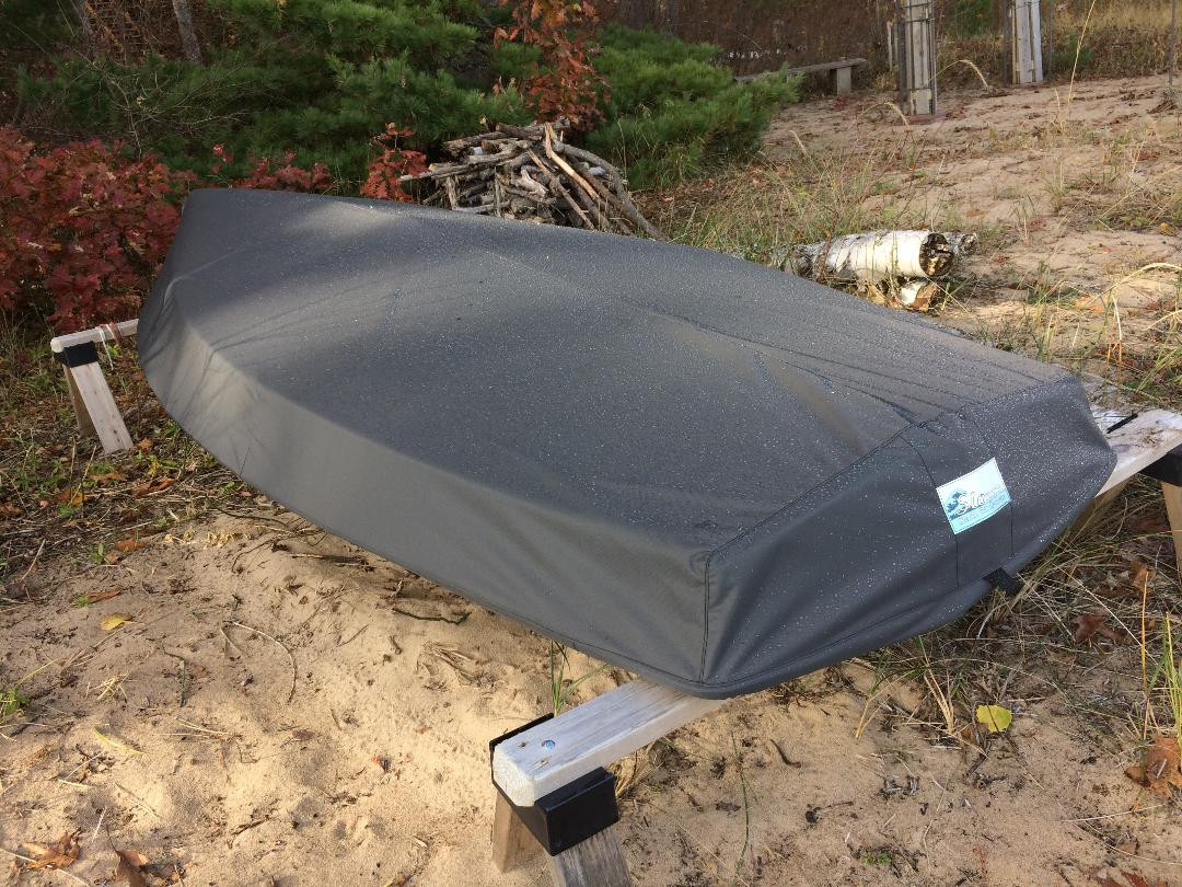 Force 5 sailboat Hull Cover by SLO Sail and Canvas. Shown in Top Gun Sea Gull Gray. Available in 4 fabrics and many color choices.