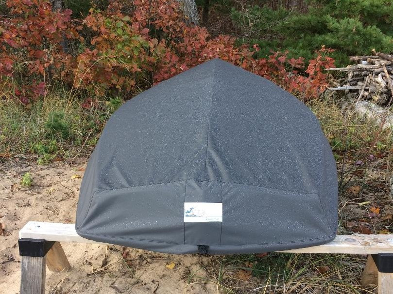 Force 5 sailboat Hull Cover by SLO Sail and Canvas. Choose either SPLIT or SOLID transom style. SOLID style shown.