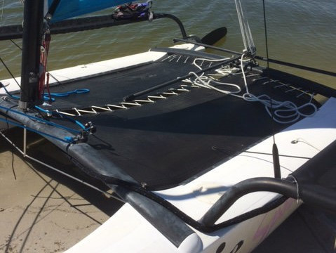 3pc Black Mesh Trampoline to fit a Hobie 17 catamaran by SLO Sail and Canvas