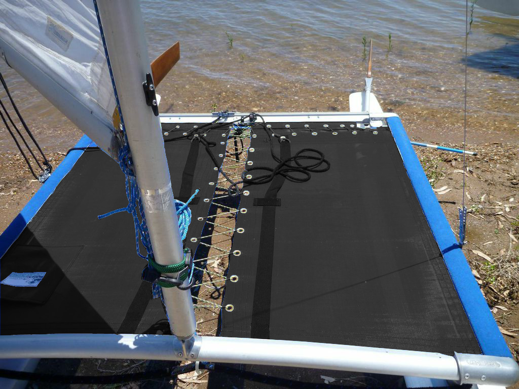 """Black Mesh 3pc Trampoline to fit a Hobie 3.5 catamaran made in the USA by SLO Sail and Canvas. 12"""" X 12"""" Halyard pocket, included."""