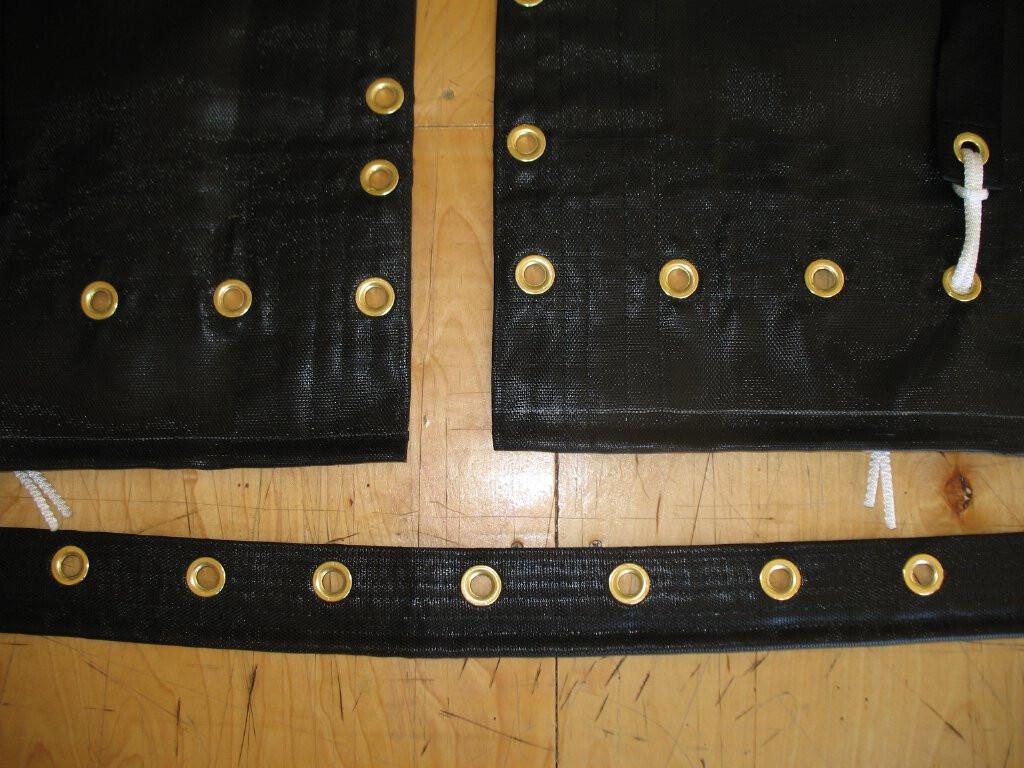 """Hand pounded #4 brass spur grommets. Adjustable hiking straps made of 2"""" polypropylene webbing."""