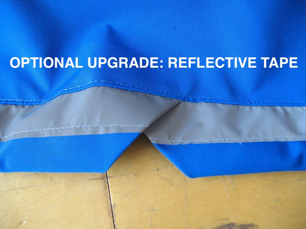 Optional Upgrade: Reflective Tape is added to the transom area of the cover to increase visibility while parked on the street or while on a mooring.