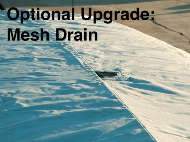 Optional Upgrade: Mesh Drain - allow water to drain away from your hull cover.