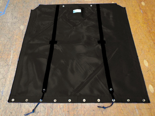 """Trac 14 Bias Cut catamaran trampoline - made in America by skilled artisans at SLO Sail and Canvas. Hand pounded #4 brass spur grommets. Adjustable hiking straps made of 3"""" Polypropylene webbing."""