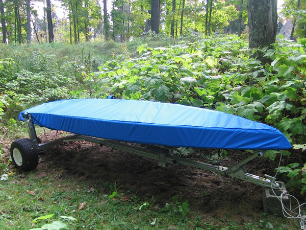 Sailboat Hull Cover made in America by skilled artisans at SLO Sail and Canvas. Cover shown in Top Gun Caribbean Blue. Available in 4 fabrics and many color choices.