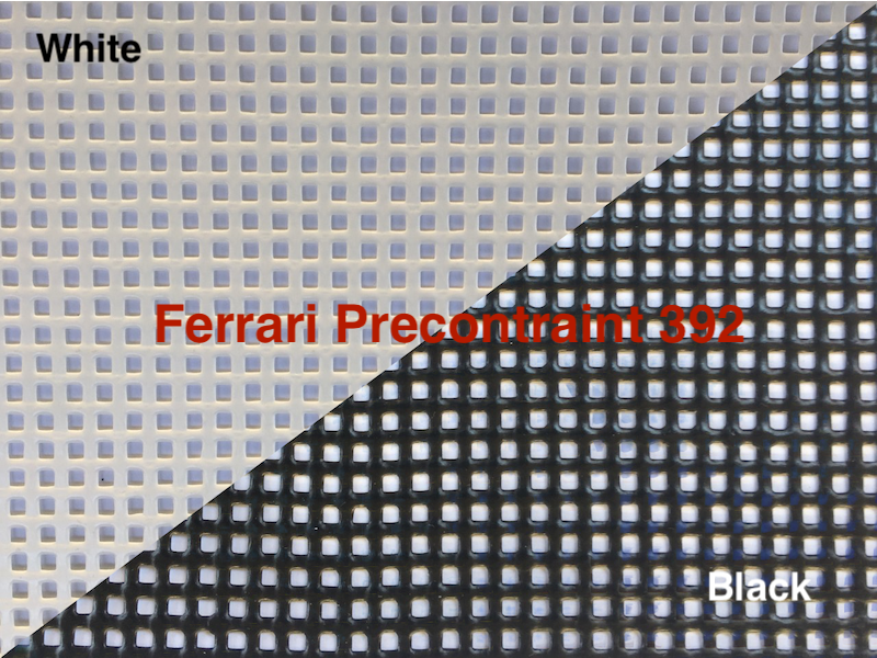 Made with Ferrari Precontraint 392 ultra-premium architectural grade PVC coated Vinyl mesh in your choice of color and thread type.