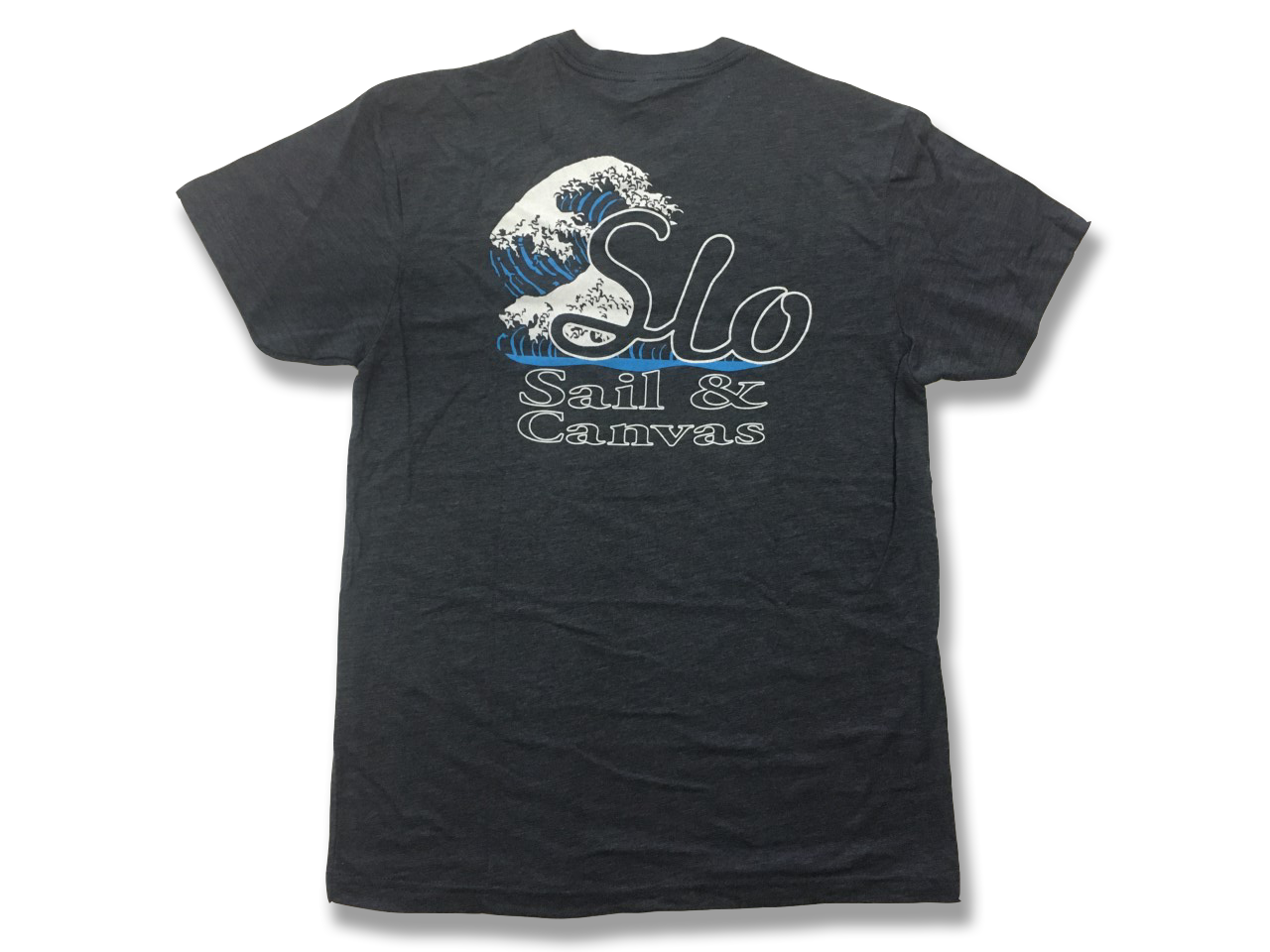 SLO Sail and Canvas T Shirt. Great to give to a sailor as a gift - or treat yourself to a comfortable lightweight T shirt! Shown in Vintage Navy.