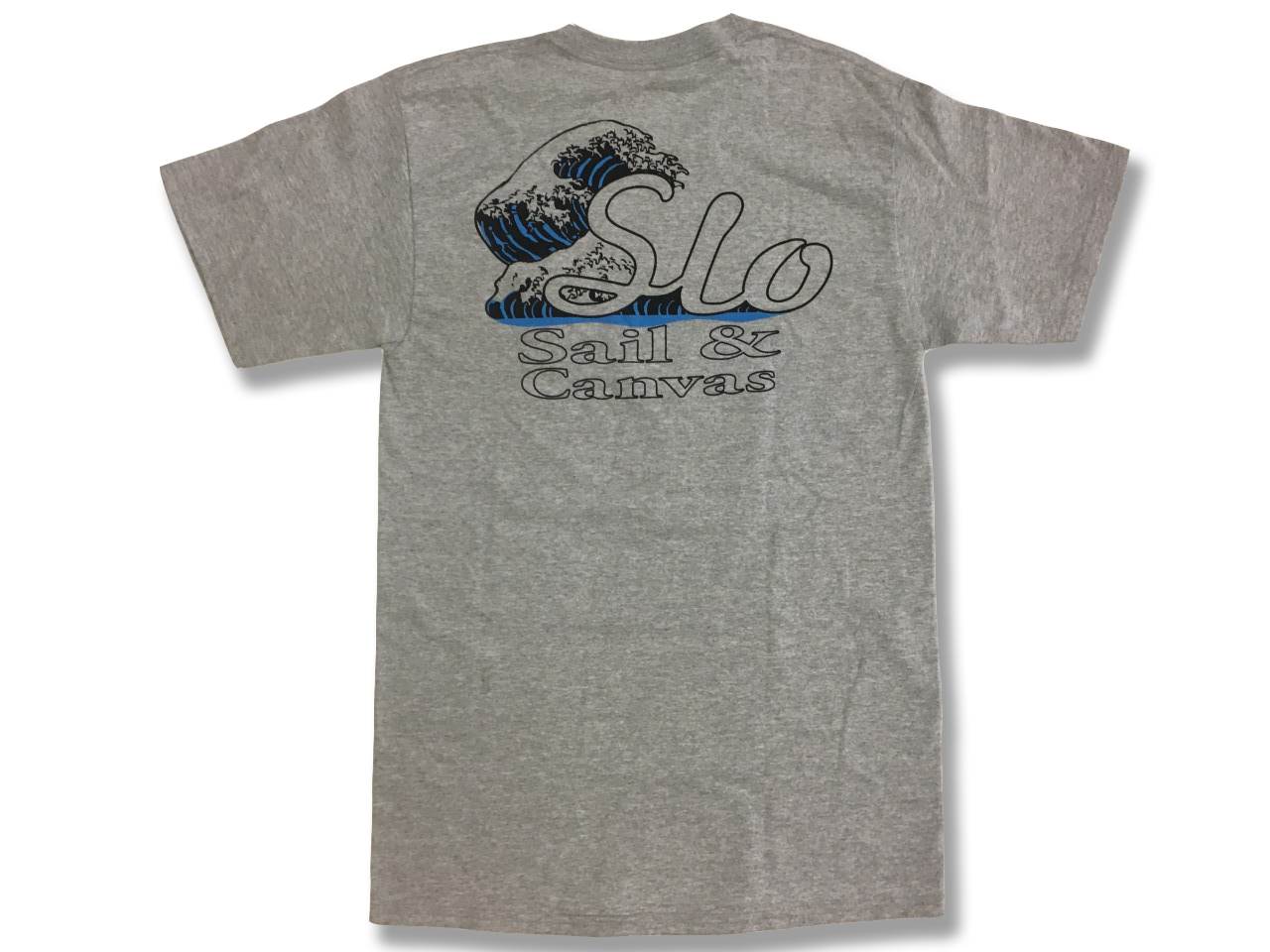 SLO Sail and Canvas T Shirt. Great to give to a sailor as a gift - or treat yourself to a comfortable lightweight T shirt! Shown in Premium Heather.