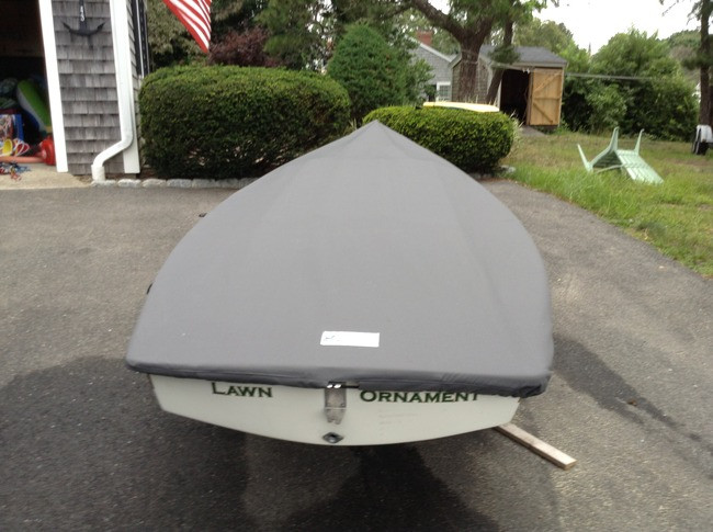 Man O War Deck Sailboat Top Cover by SLO Sail and Canvas. Shown in Polyester Charcoal Gray.