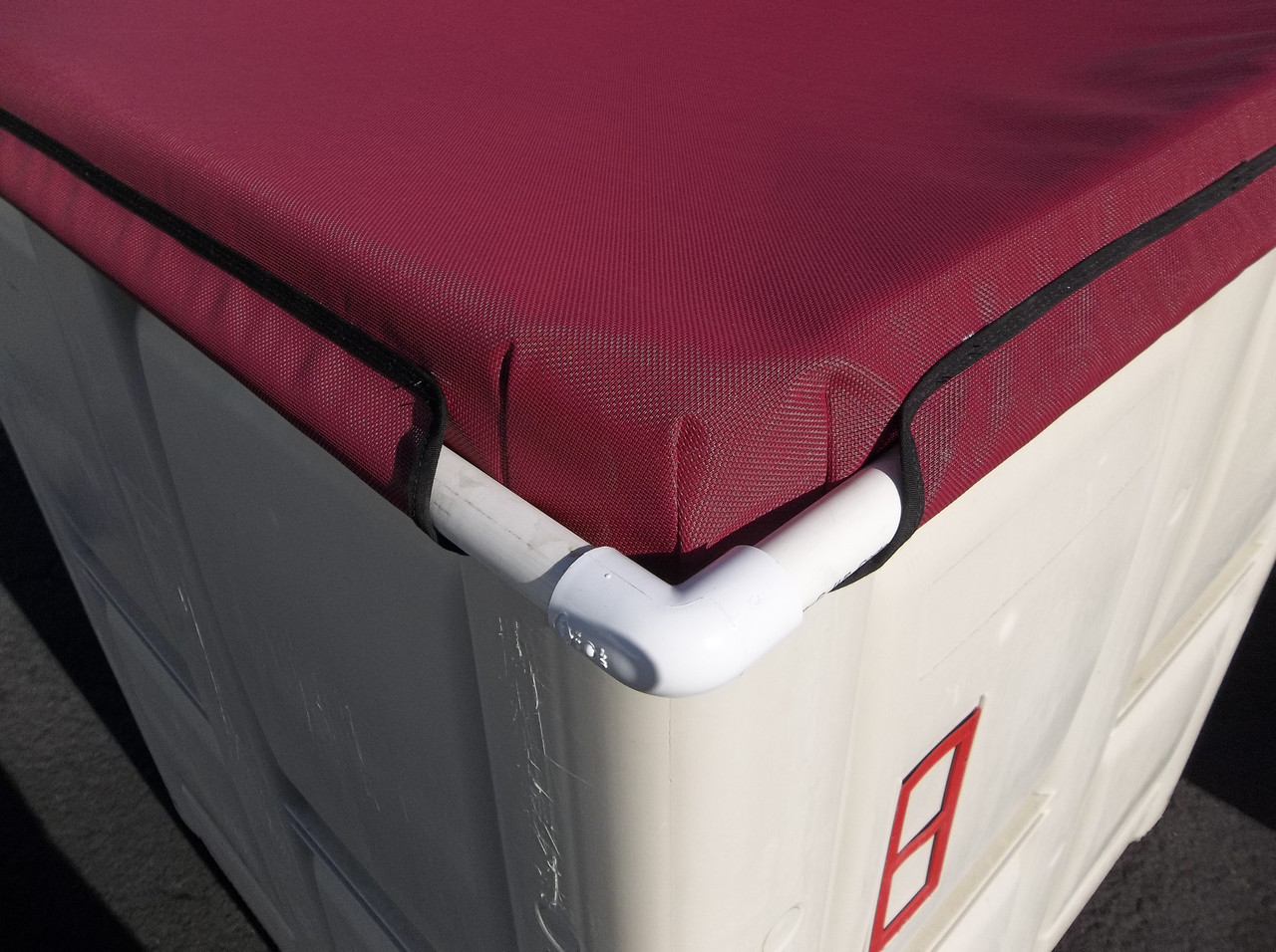 SLO Sail and Canvas Macro Bin Fermentation Covers are made of durable mesh stretched around a lightweight rigid plastic frame.
