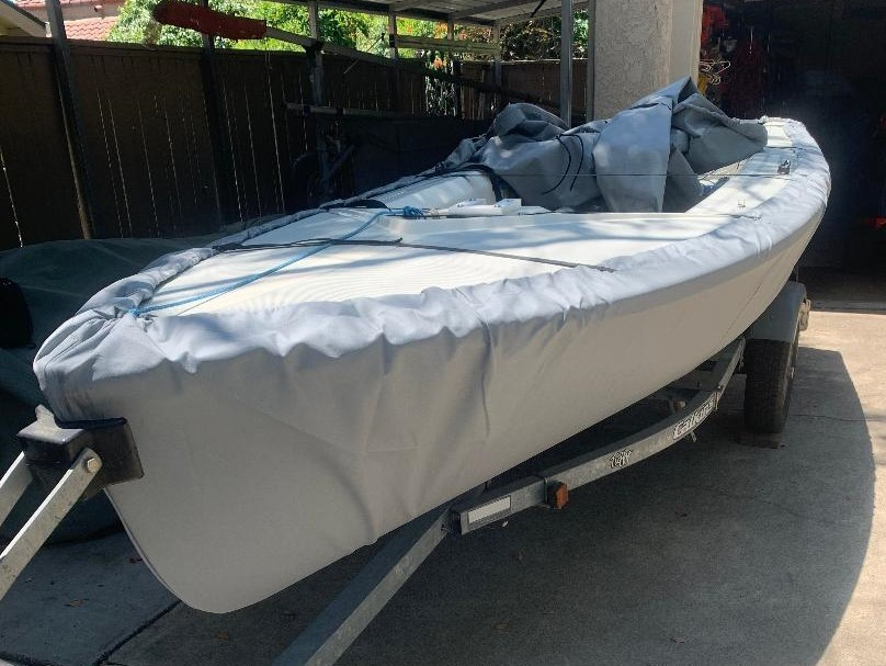 Bottom Hull Cover for a Coronado 15 sailing dinghy sailboat made in the USA by SLO Sail and Canvas.