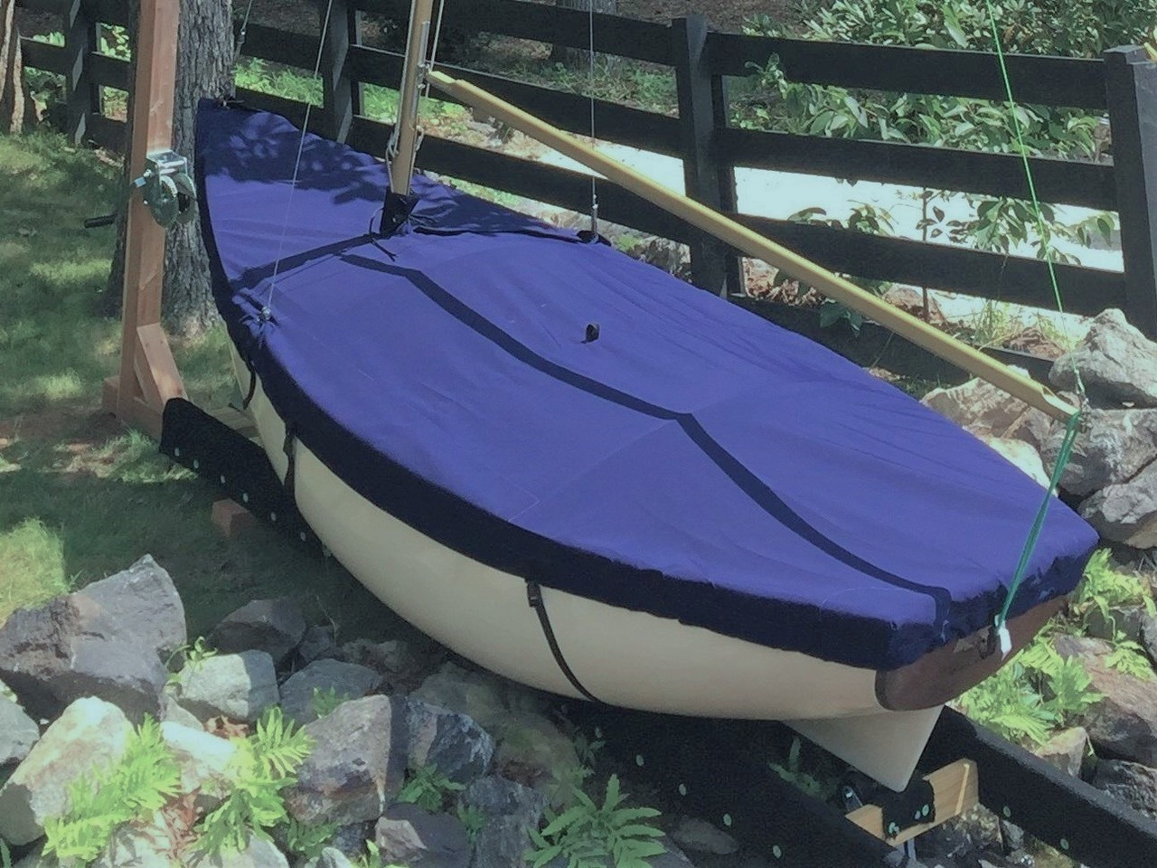 Mooring Cover shown in Polyester Navy Blue. Available in 3 fabrics and many color choices.