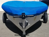 RS Zest Sailboat Hull Cover made in America by skilled artisans at SLO Sail and Canvas. Cover shown in Polyester Royal Blue. Available in 3 fabrics and many color choices.