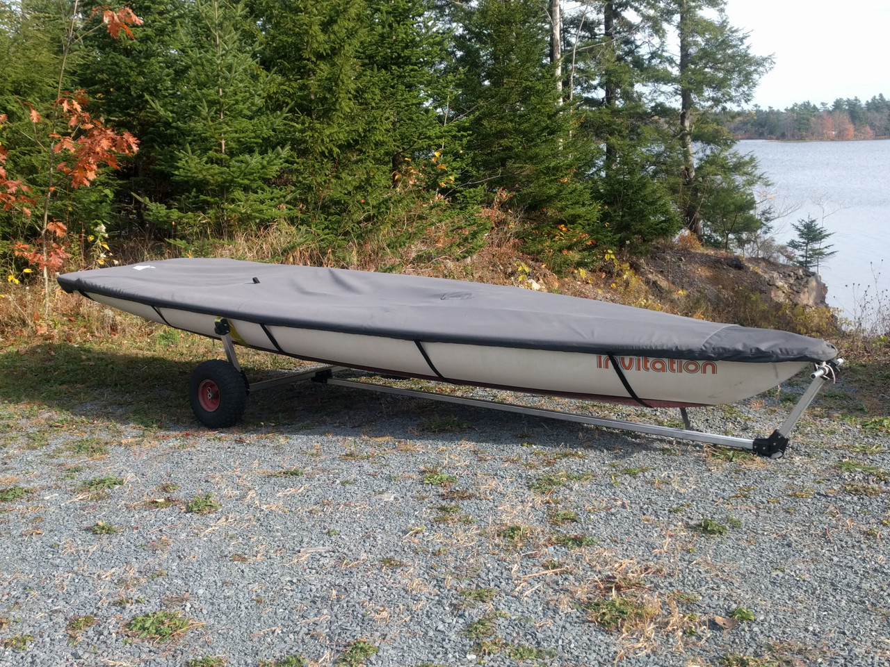 Deck Cover by SLO Sail and Canvas to protect your Bombardier Invitation 3.8 from dirt, leaves and debris.