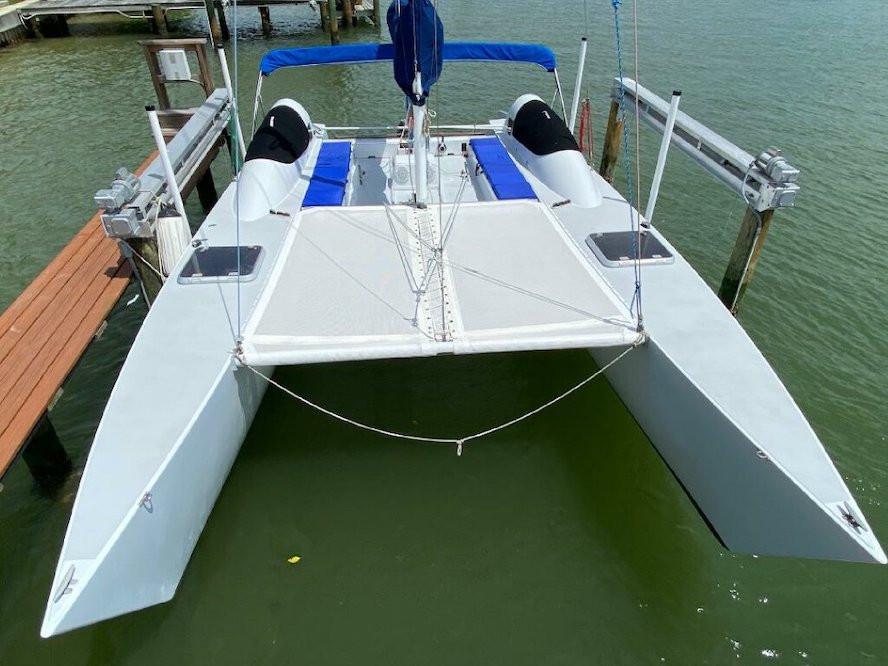 2 piece Ferrari 392 Precontraint mesh trampoline to fit a Stiletto 27 catamaran by SLO Sail and Canvas