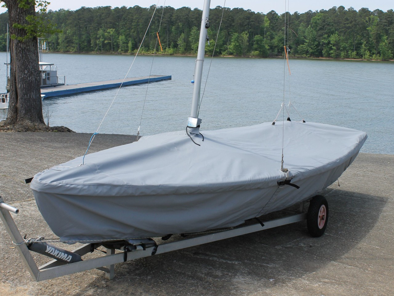 Snipe Sailboat Skirted Mast Up Flat Cover by SLO Sail and Canvas