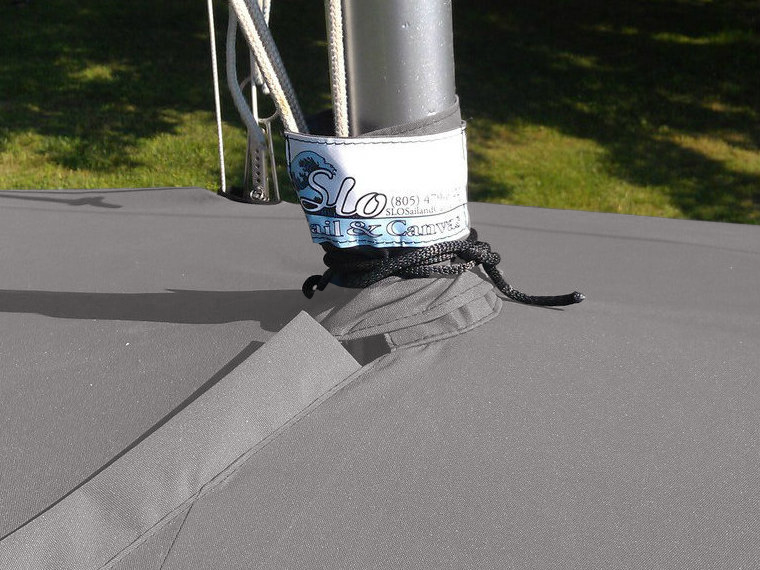 A mast collar and fits tightly around your boats mast.