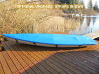Sailboat Top Cover made in America by skilled artisans at SLO Sail and Canvas. Cover shown in Top Gun Caribbean Blue. Available in 3 fabrics and many color choices. Optional Upgrade: Straps with Fastex® Buckles shown in product image.