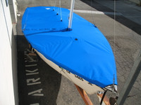 Precision 15 Sailboat Hull Cover made in America by skilled artisans at SLO Sail and Canvas. Cover shown in Polyester Royal Blue. Available in 3 fabrics and many color choices.