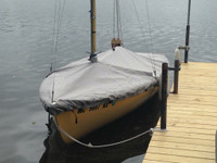 Precision 15 Sailboat Mast Up Flat Cover made in America by skilled artisans at SLO Sail and Canvas.